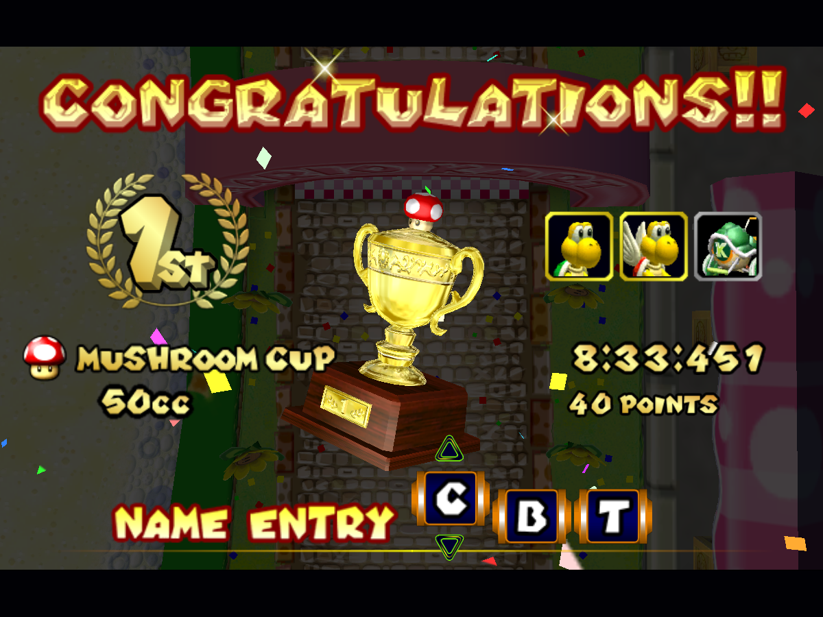 Mario Kart Congrats screen